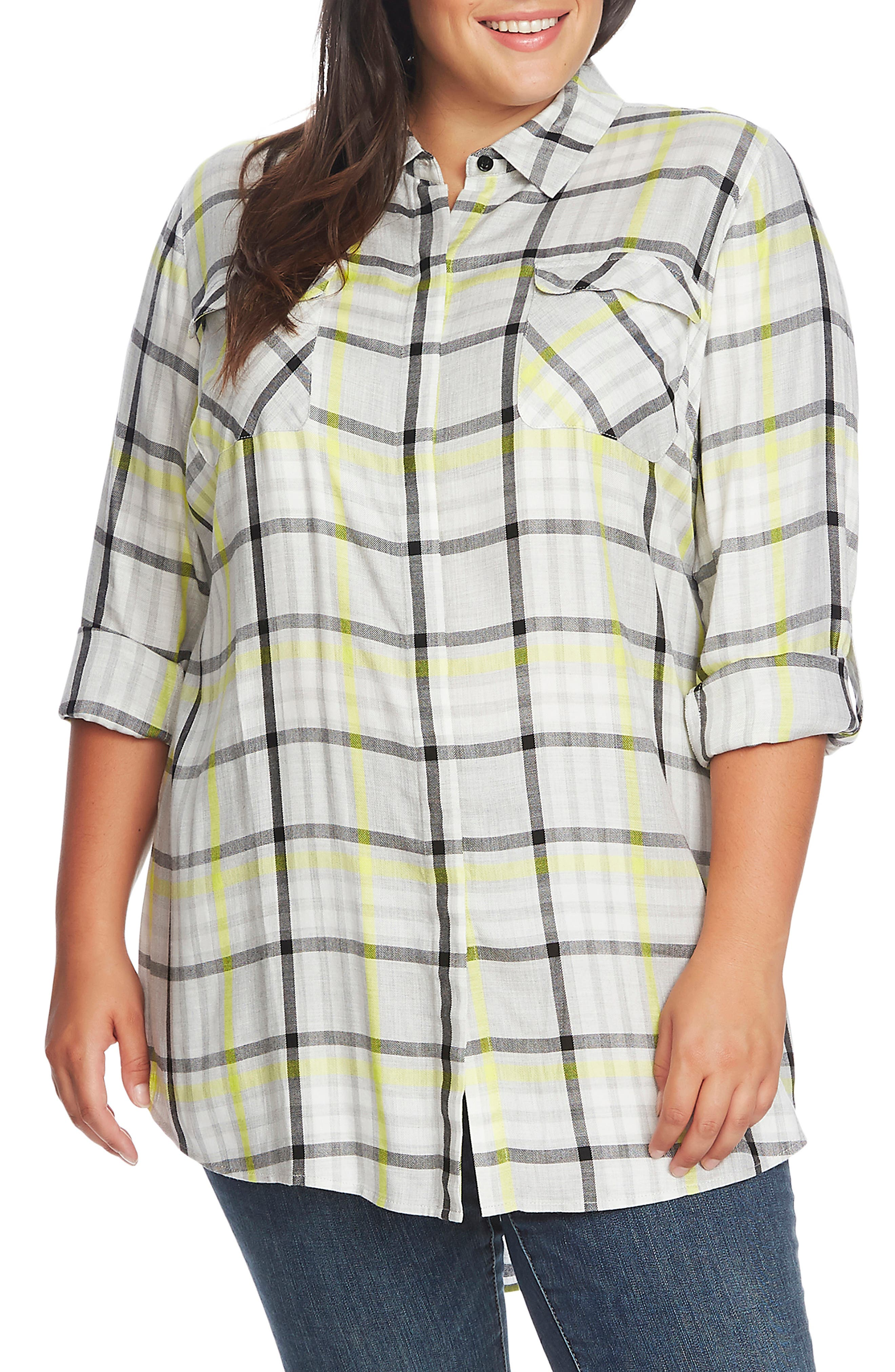Image of Vince Camuto Long Sleeve Plaid Highlight Tunic