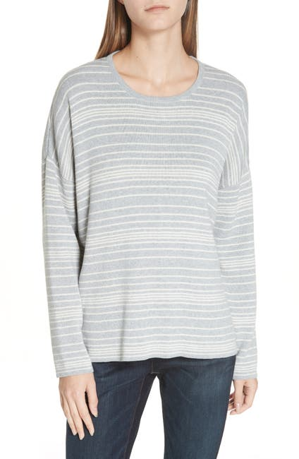 Image of Eileen Fisher Stripe Organic Cotton Sweater