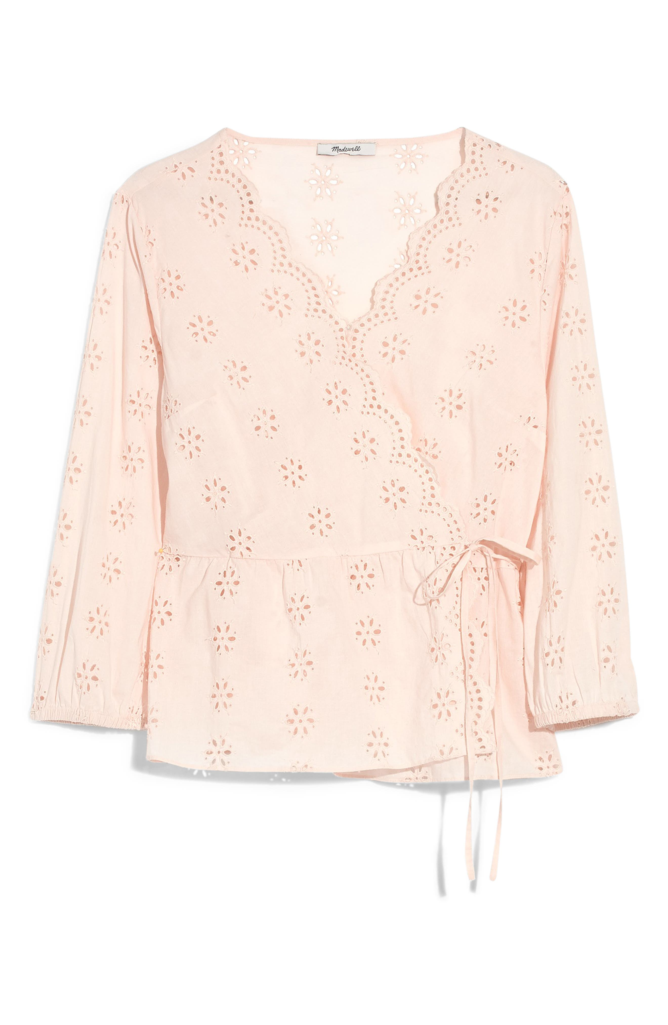 Scalloped Eyelet Wrap Top, Main, color, ANTIQUE LACE