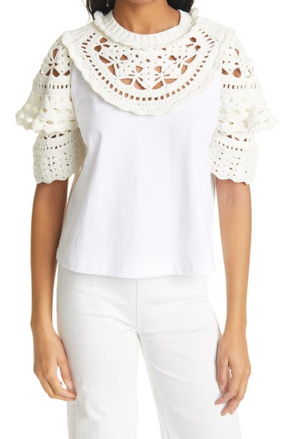 SEA CLEO CROCHET ACCENT TOP
