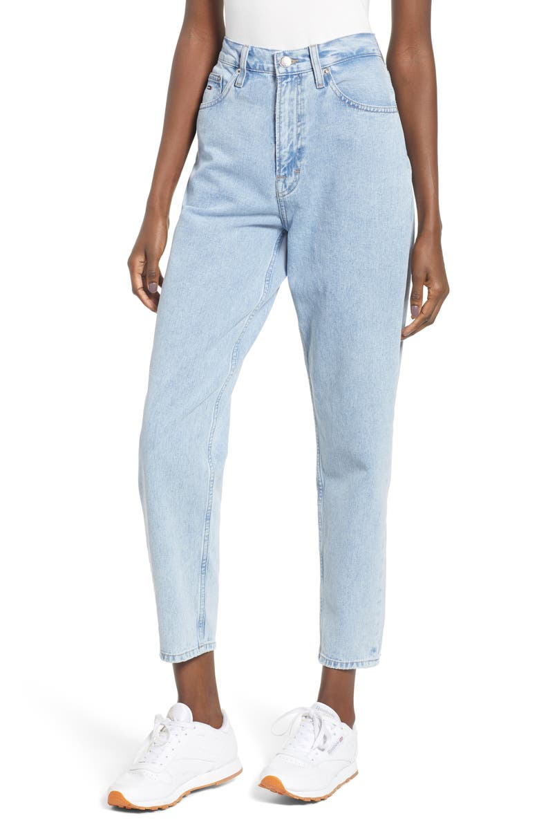 TOMMY JEANS High Waist Tapered Jeans, Main, color, EIGHTIES LIGHT BLUE