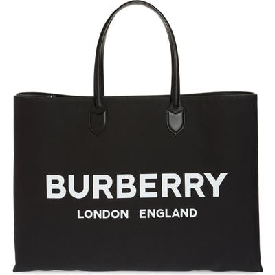 Burberry Lewes Canvas Tote Bag - Black