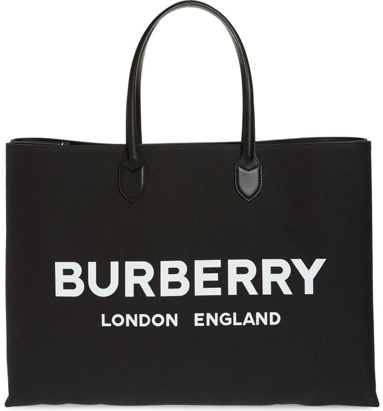 BURBERRY Lewes Canvas Tote Bag, Main, color, BLACK