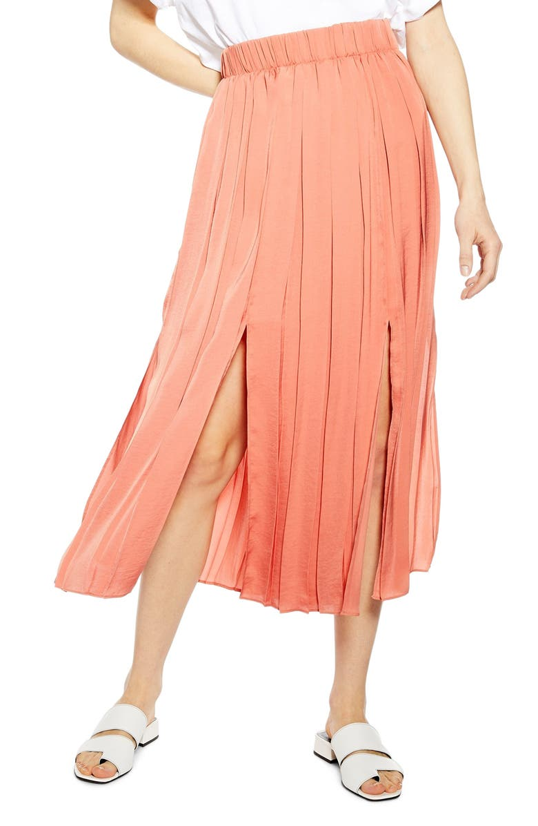 TOPSHOP Double Slit Pleated Satin Midi Skirt, Main, color, CORAL