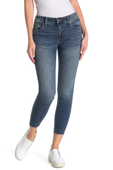 Image of KUT from the Kloth Carlo Raw Edge High Waist Ankle Skinny Jeans
