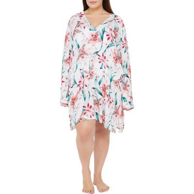 Plus Size La Blanca Flyaway Orchid Cover-Up Tunic, White