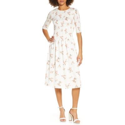 Ali & Jay Barnsdall Floral Smocked Midi Dress, Ivory