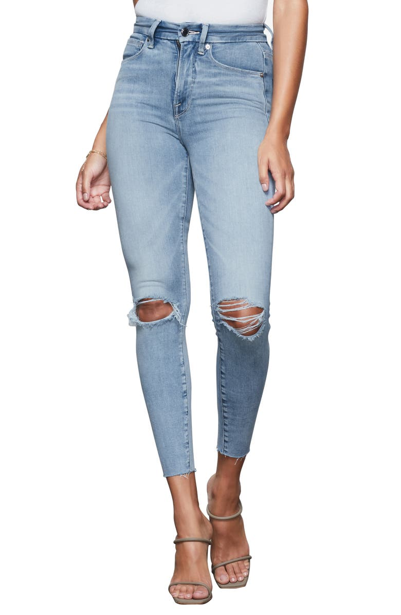 GOOD AMERICAN Good Waist Ripped High Waist Crop Skinny Jeans, Main, color, BLUE352