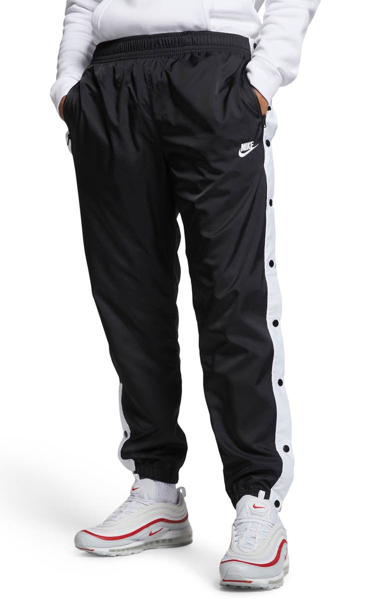 NIKE Sportswear Woven Track Pants, Main, color, BLACK/ WHITE/ WHITE