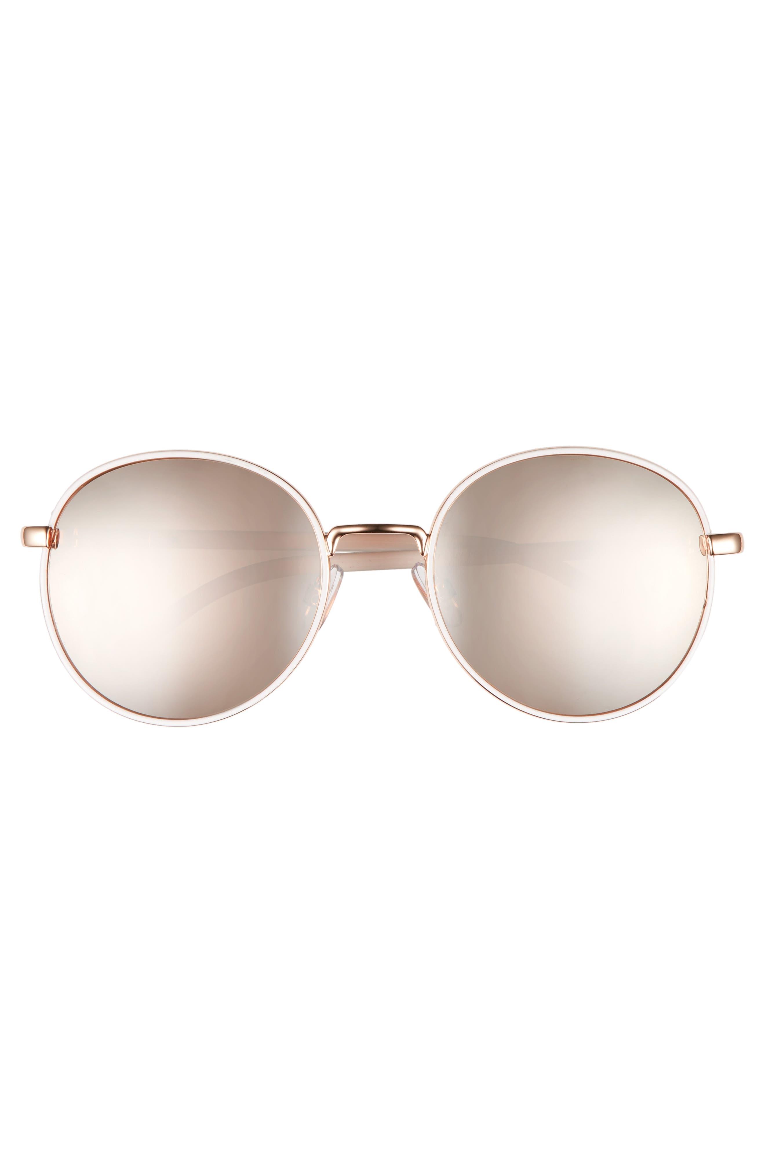 ,                             55mm Round Sunglasses,                             Alternate thumbnail 3, color,                             WHITE/ ROSE GOLD