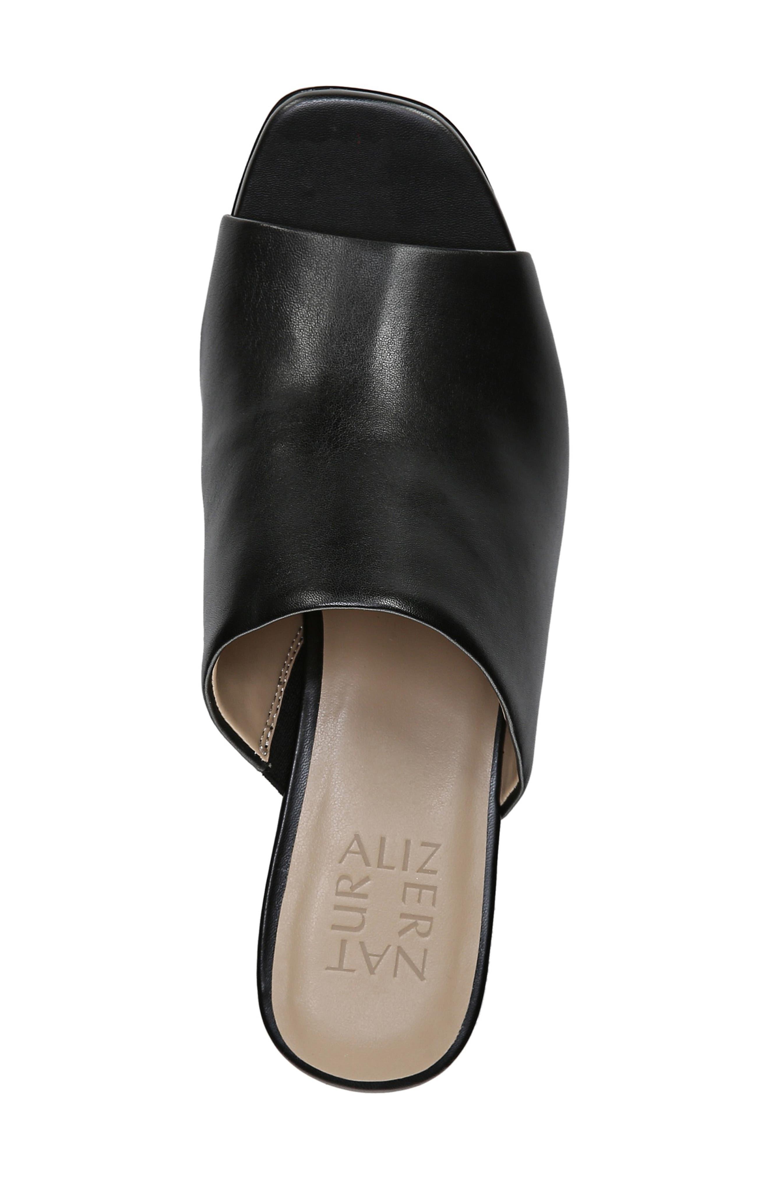,                             Zaya Wedge Slide Sandal,                             Alternate thumbnail 5, color,                             BLACK LEATHER