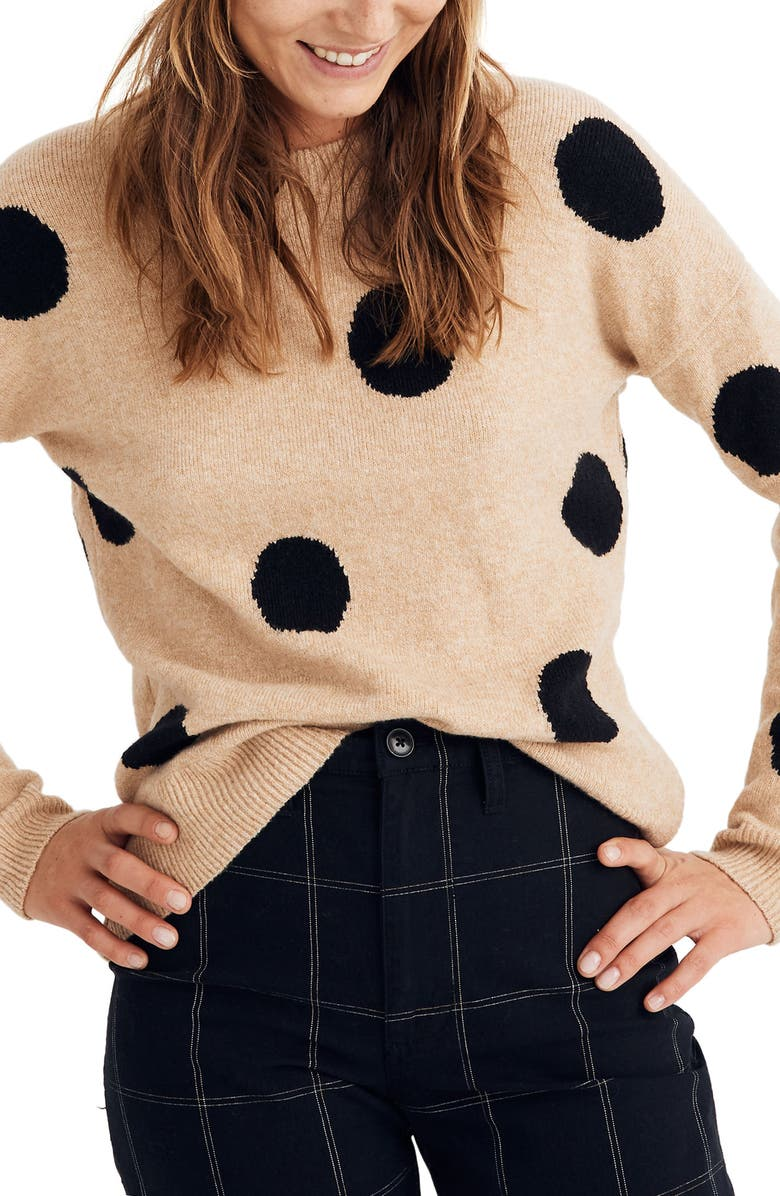 MADEWELL Dot Graystone Coziest Yarn Pullover Sweater, Main, color, HEATHER CAMEL