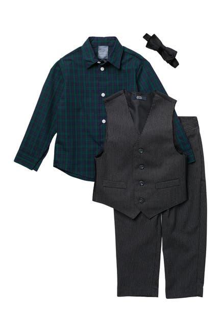 Image of Tommy Hilfiger Flannel Shirt & Striped Vest Set