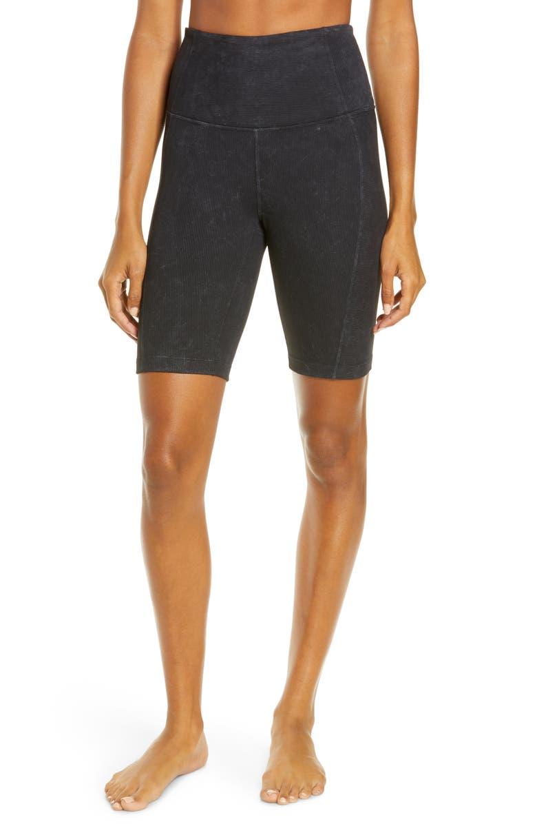 ZELLA Snow Wash Rib Bike Shorts, Main, color, BLACK