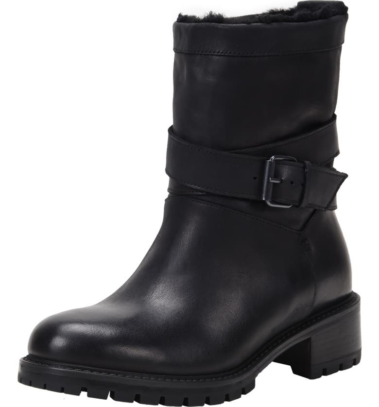 ROSS & SNOW Genuine Shearling Lined Moto Boot, Main, color, BLACK LEATHER