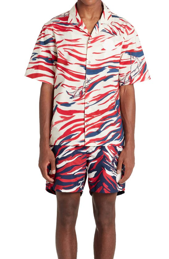 Moncler T-shirts PRINT SHORT SLEEVE SNAP-UP SHIRT