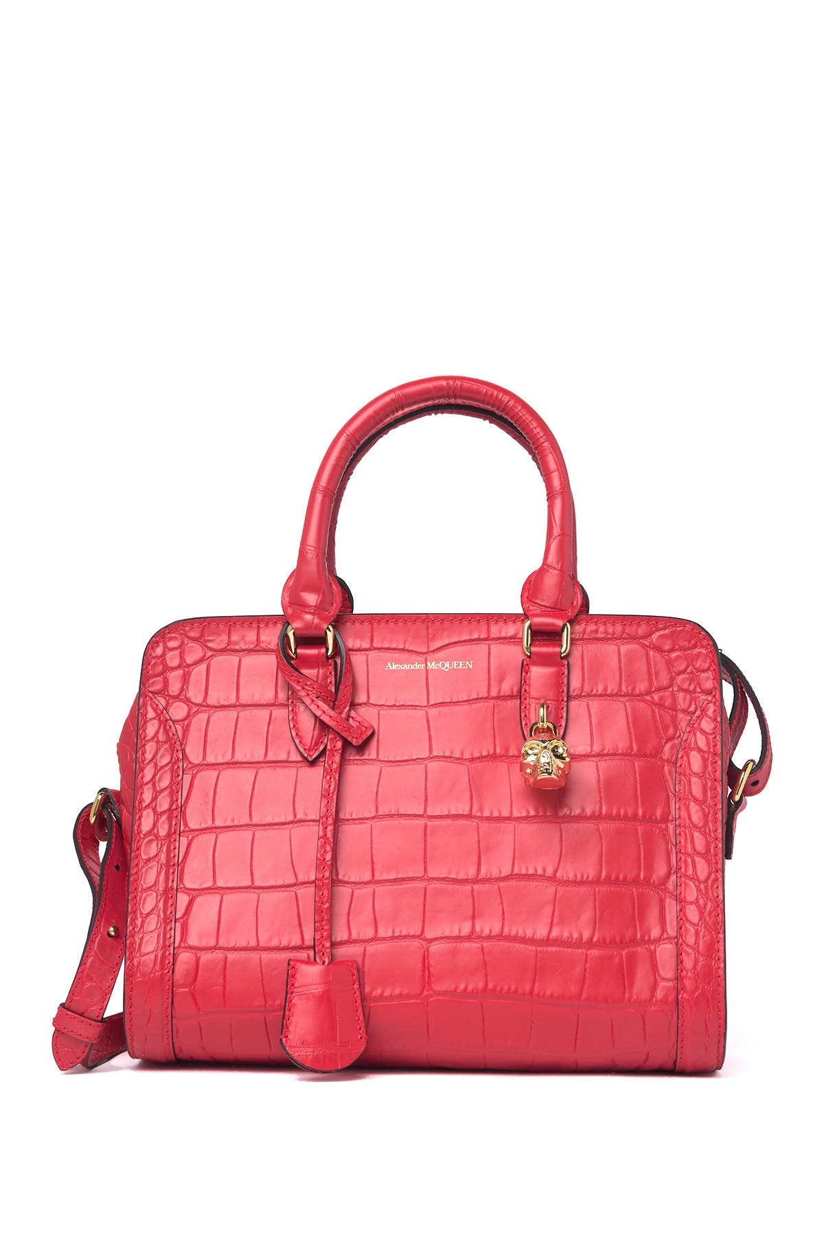 Image of Alexander McQueen Croc Embossed Leather Small Zip Shoulder Bag