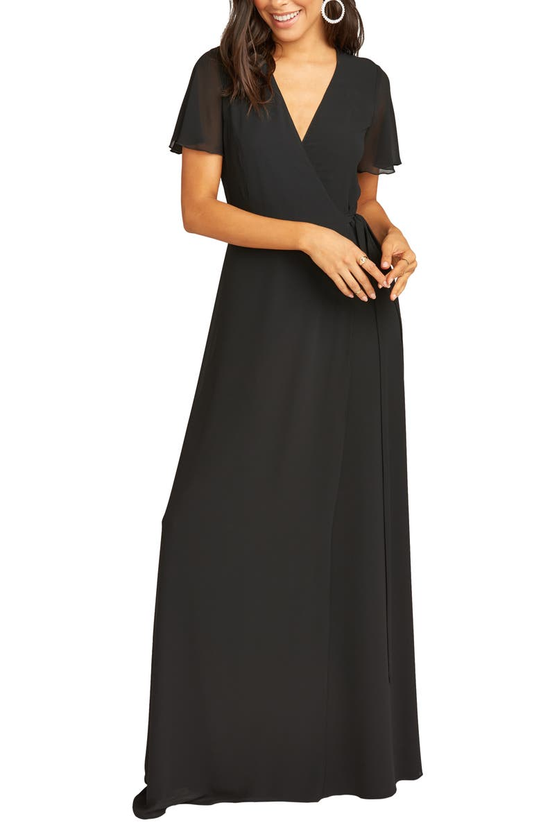 SHOW ME YOUR MUMU Noelle Wrap Dress, Main, color, BLACK CHIFFON