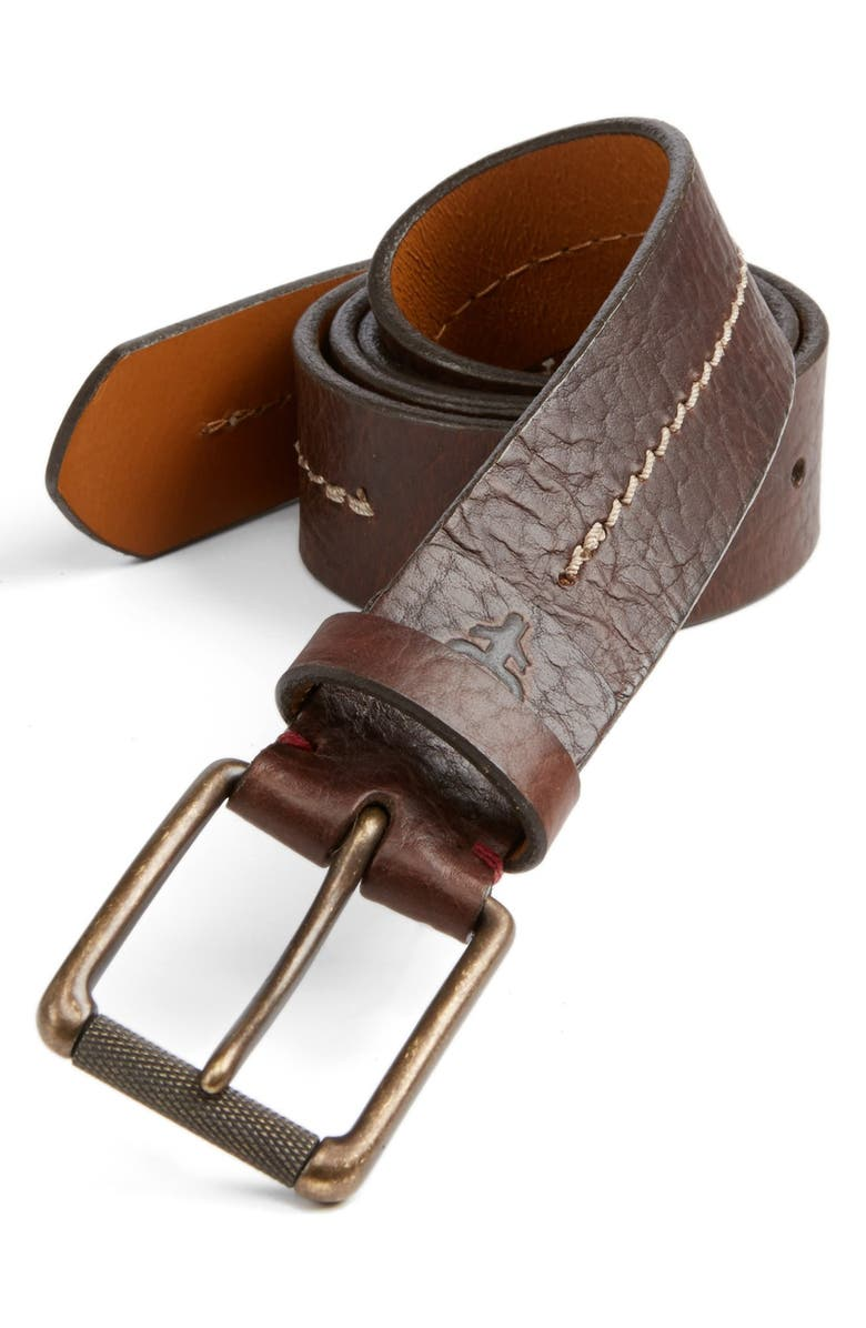 TRASK Dagmar Leather Belt, Main, color, BOURBON