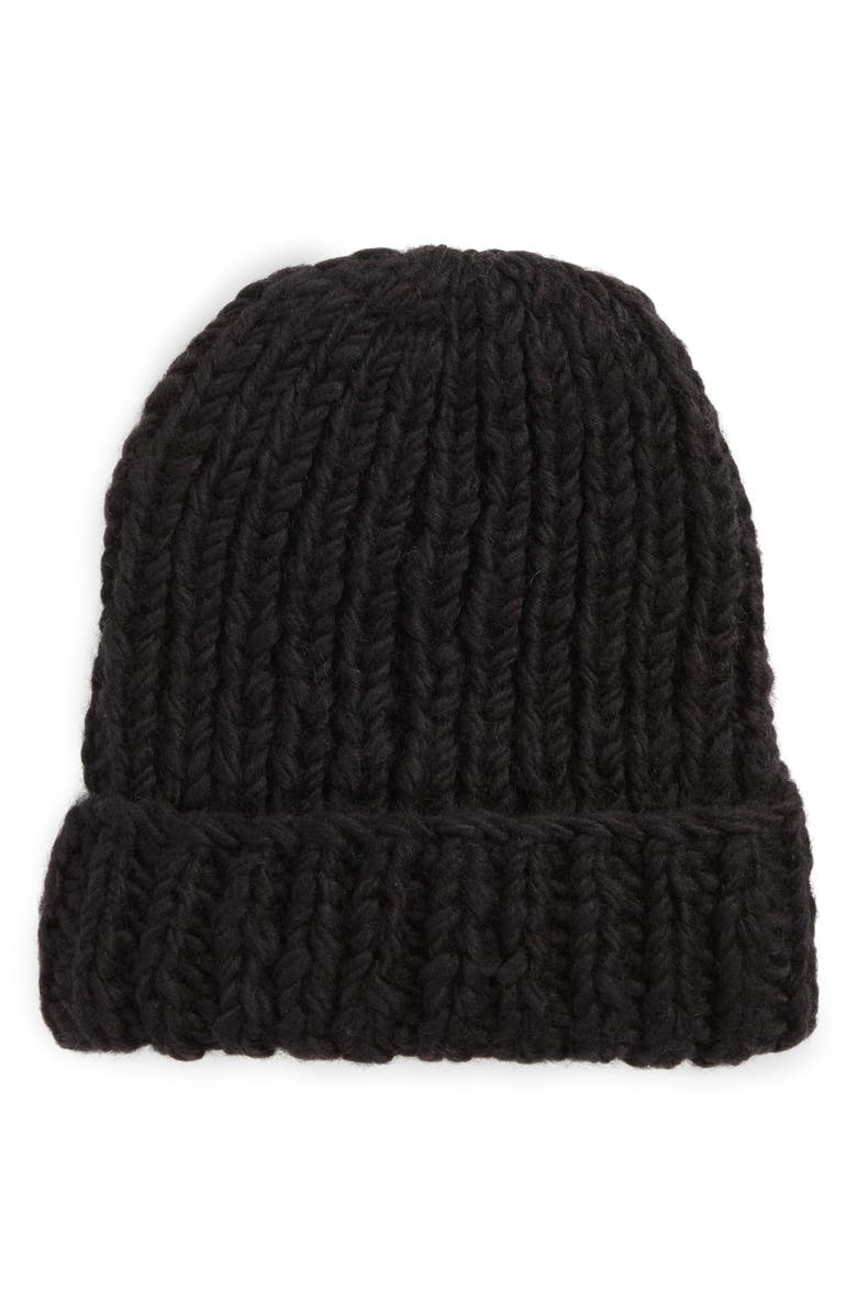 NIRVANNA DESIGNS Chunky Knit Slouchy Wool Cap, Main, color, 001