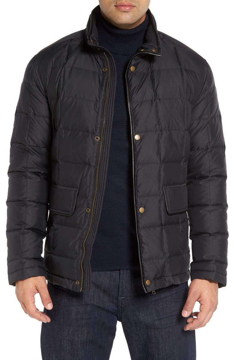 COLE HAAN Box Quilted Jacket, Main, color, BLACK