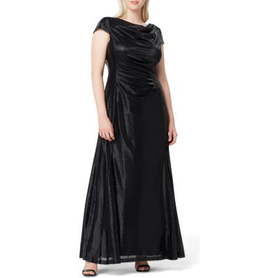 Plus Size Tahari Metallic Foil Draped Gown, Black