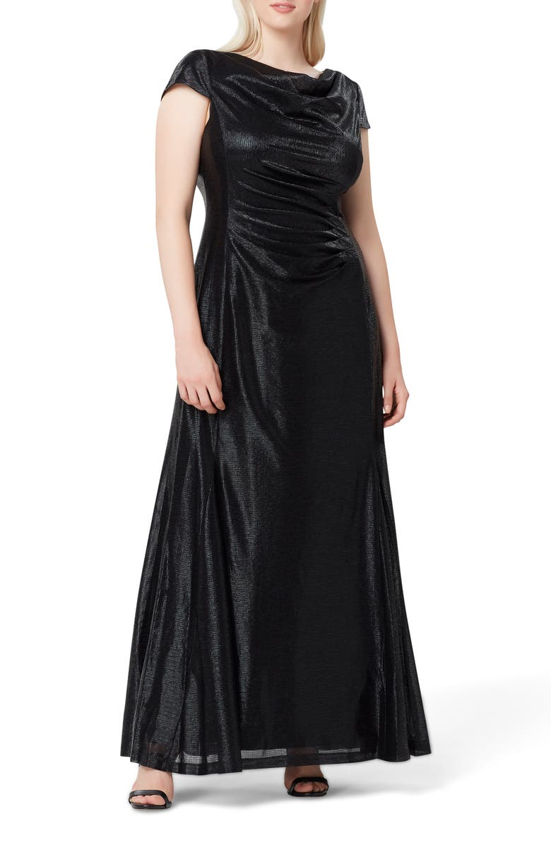 TAHARI Metallic Foil Draped Gown, Main, color, BLACK