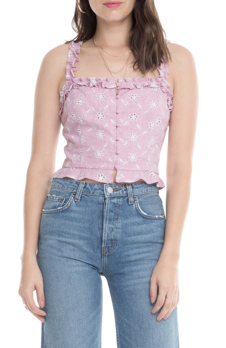 ASTR THE LABEL Esther Sleeveless Ruffle Crop Top, Main, color, 650