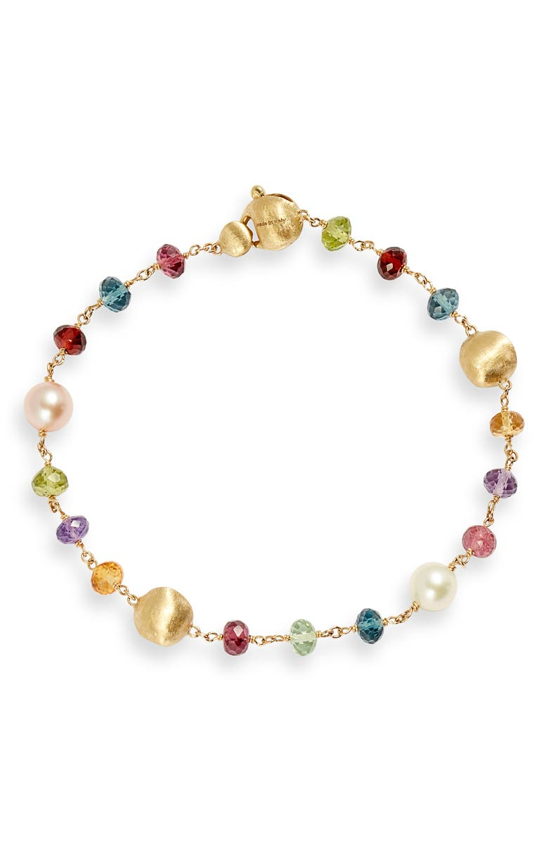 MARCO BICEGO Africa Semiprecious Stone & Pearl Bracelet, Main, color, YELLOW GOLD/ MULTI