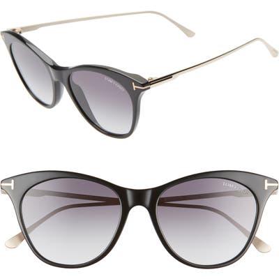 Tom Ford Micaela 5m Cat Eye Sunglasses - Blk/ Palladium/ Smoke/ Silv