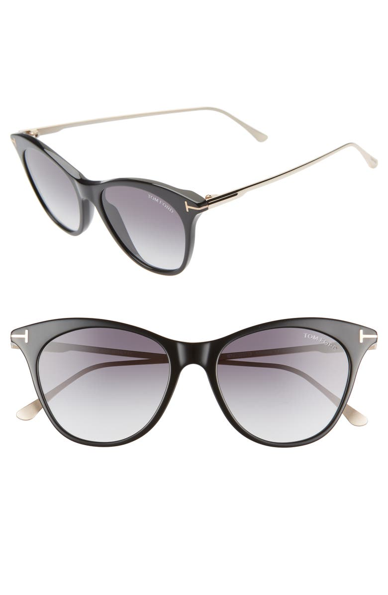 TOM FORD Micaela 53mm Cat Eye Sunglasses, Main, color, BLK/ PALLADIUM/ SMOKE/ SILV