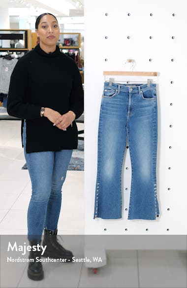 High Waist Stud Detail Kick Flare Ankle Jeans, sales video thumbnail