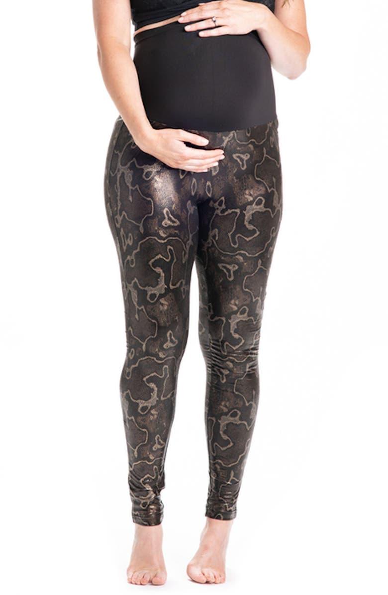PREGGO LEGGINGS Boa Print Maternity Leggings, Main, color, DARK BROWN
