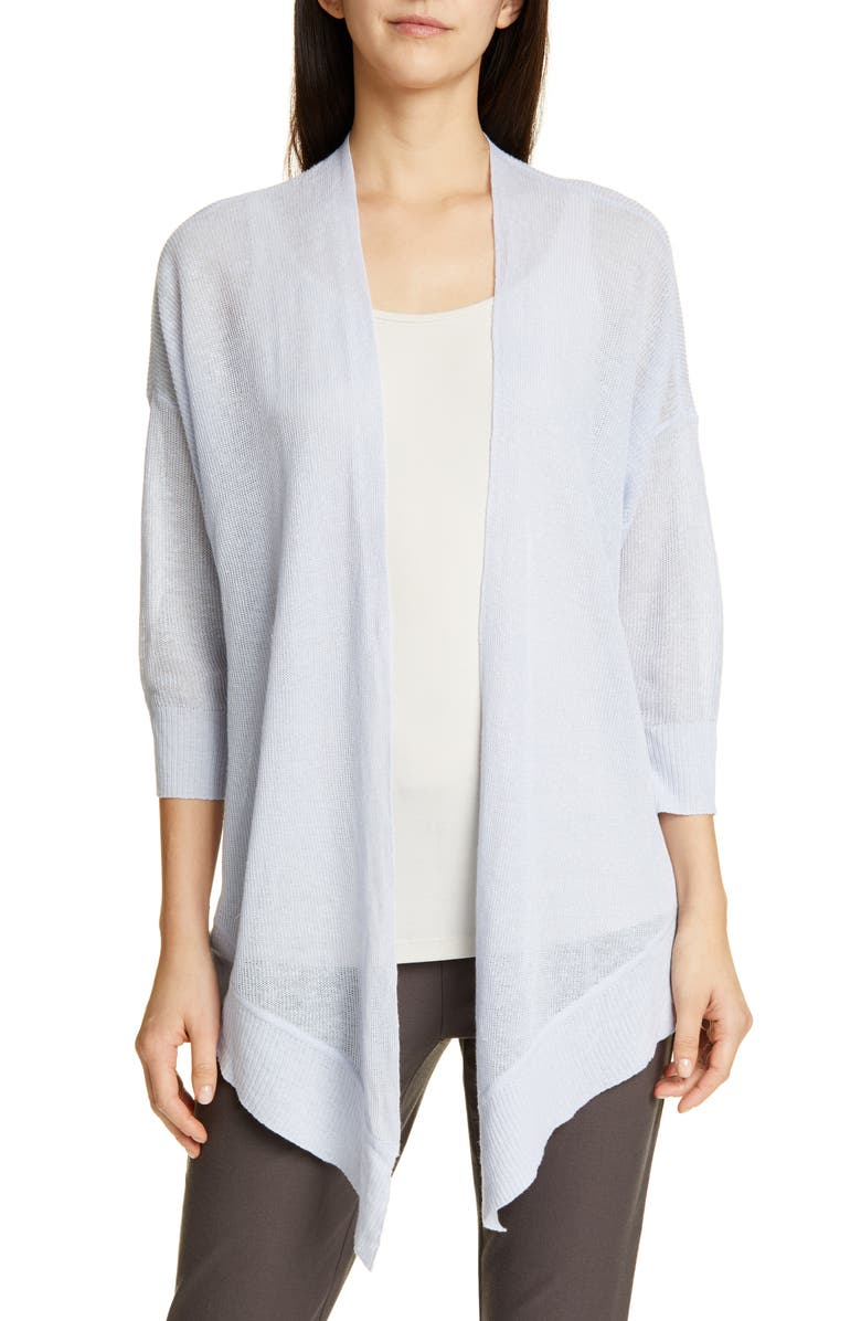 EILEEN FISHER Tie Front Organic Linen & Cotton Cardigan, Main, color, 453