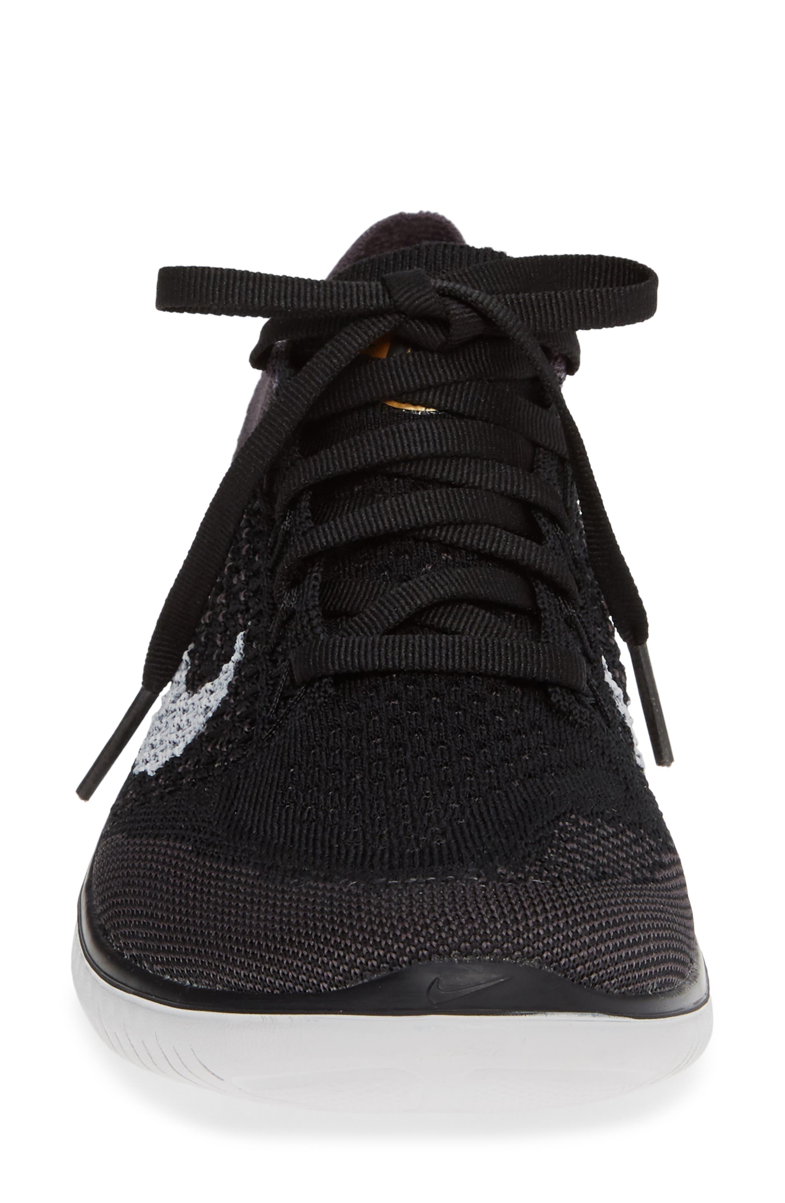 ,                             Free RN Flyknit 2018 Running Shoe,                             Alternate thumbnail 4, color,                             BLACK/ VAST GREY/ GOLD