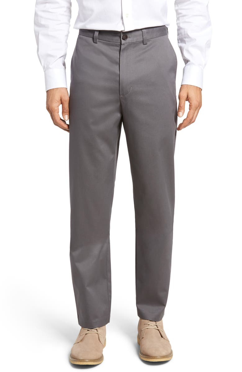 NORDSTROM MEN'S SHOP Classic Smartcare<sup>™</sup> Relaxed Fit Flat Front Cotton Pants, Main, color, GREY TORNADO