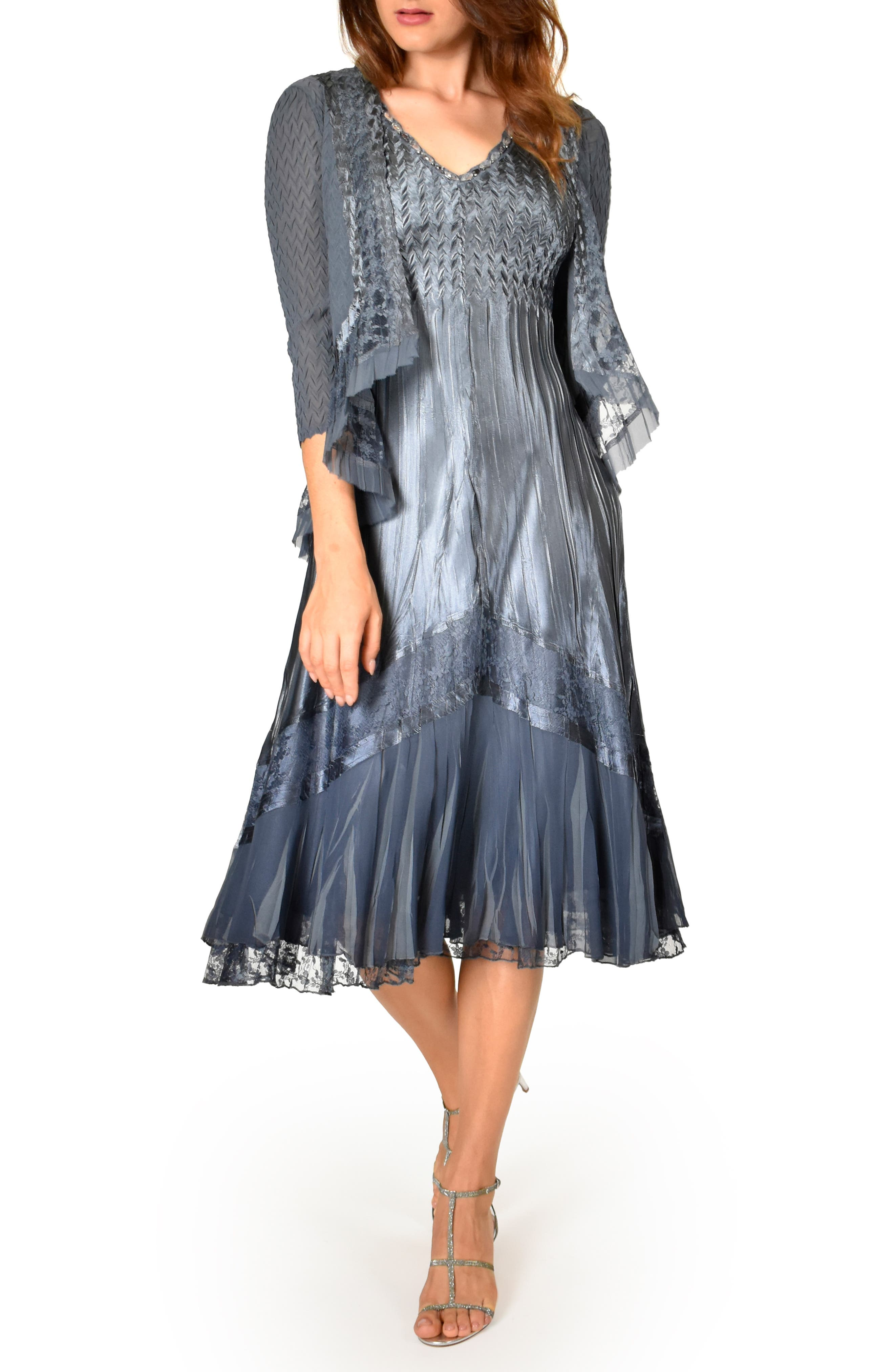 Vintage 1920s Dresses – Where to Buy Womens Komarov Lace Inset Dress With Jacket $448.00 AT vintagedancer.com