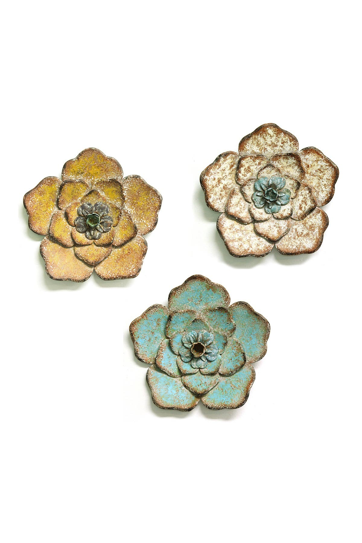 Image of Stratton Home Multi Rustic Flower Wall Decor - Set of 3