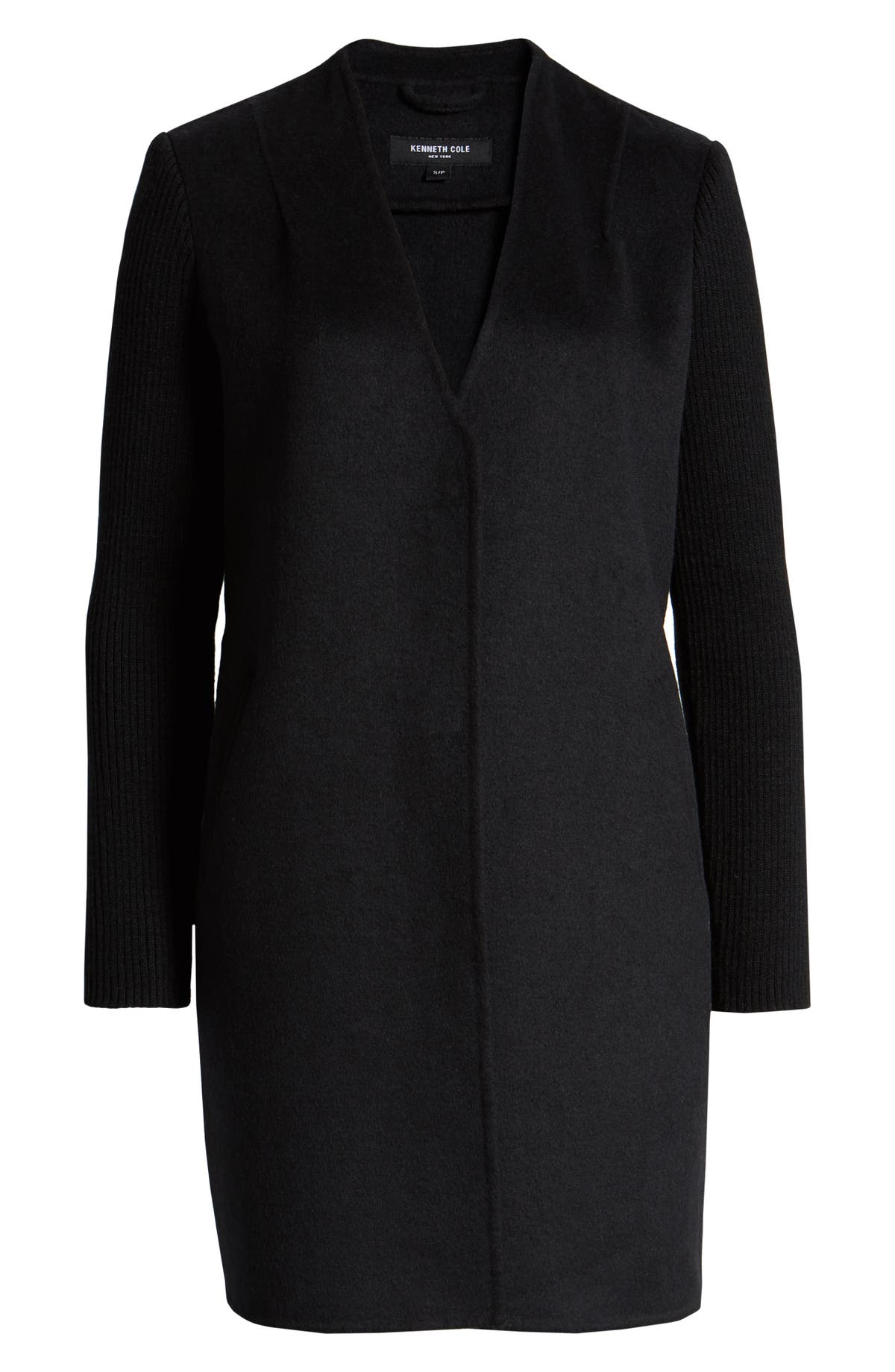 28879259f Knit Sleeve Double Face Wool Blend Coat