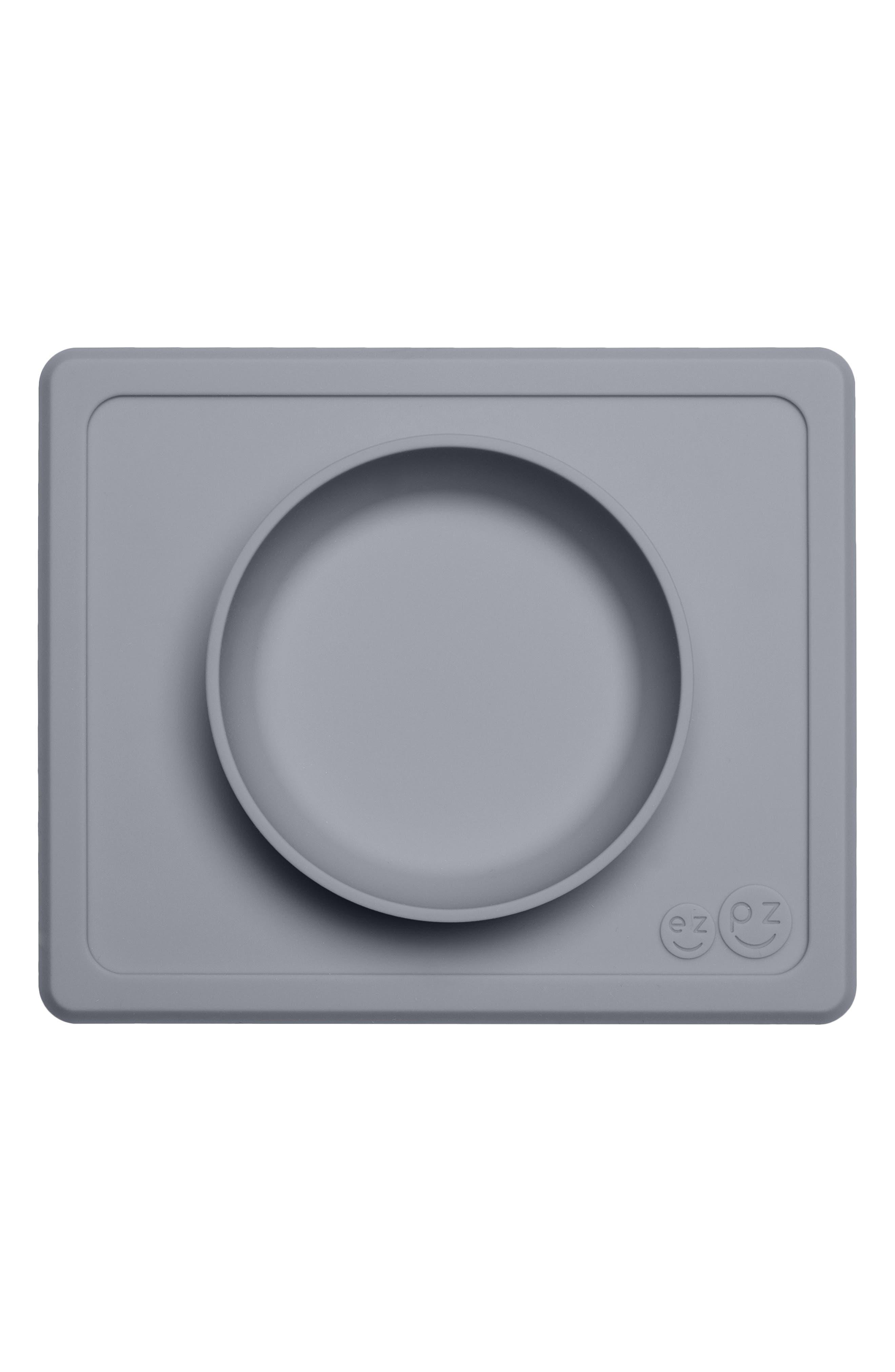,                             Mini Bowl Silicone Feeding Mat,                             Main thumbnail 1, color,                             GRAY