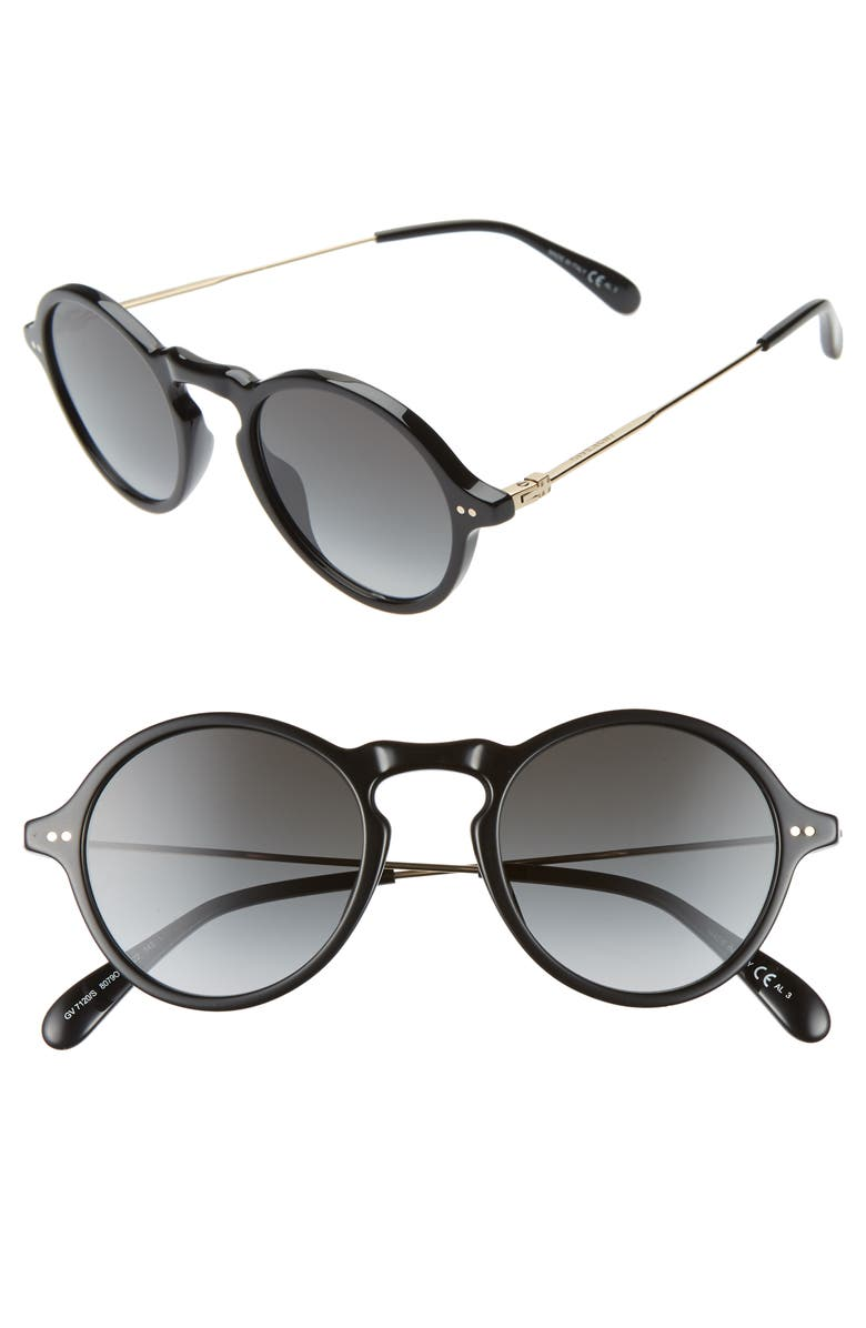 GIVENCHY 48mm Round Sunglasses, Main, color, BLACK