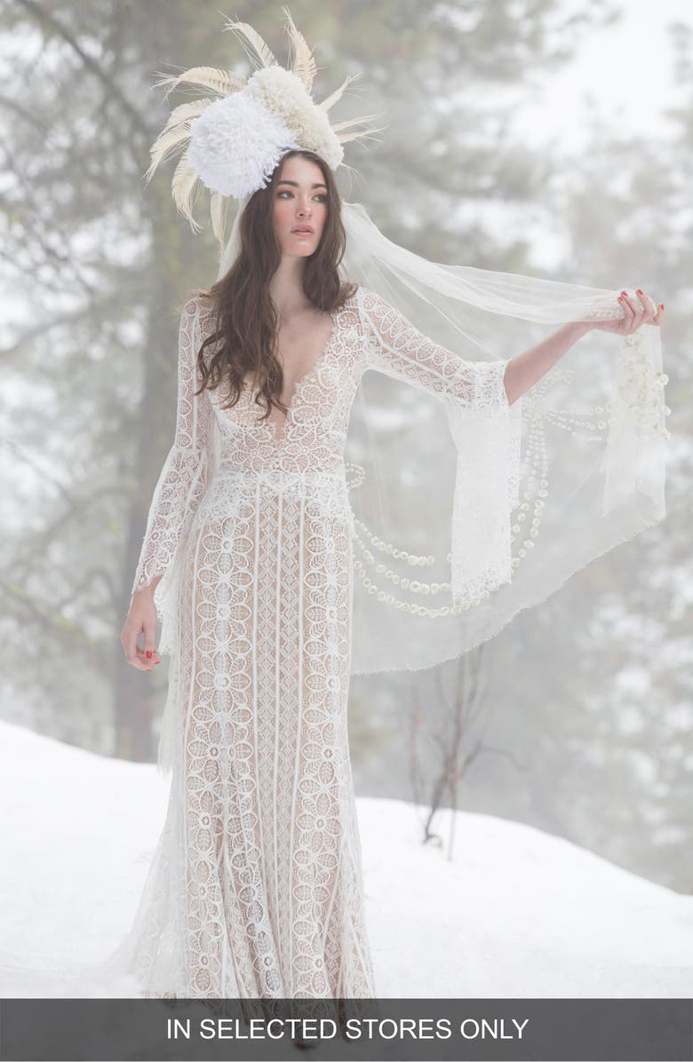 WILLOWBY Adelaide Long Sleeve Lace Wedding Dress, Main, color, 900
