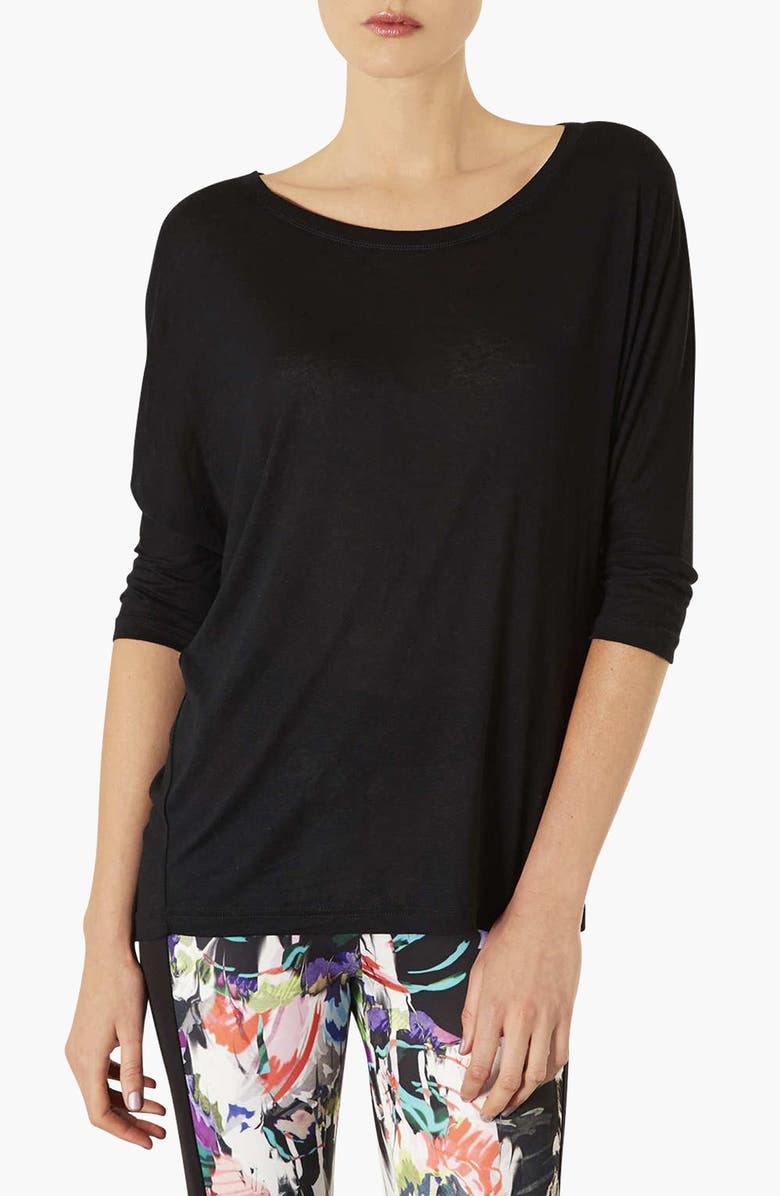 TOPSHOP Elbow Sleeve Oversized Tee, Main, color, 001