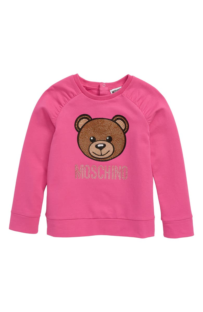 MOSCHINO Embellished Bear Logo Sweatshirt, Main, color, 670