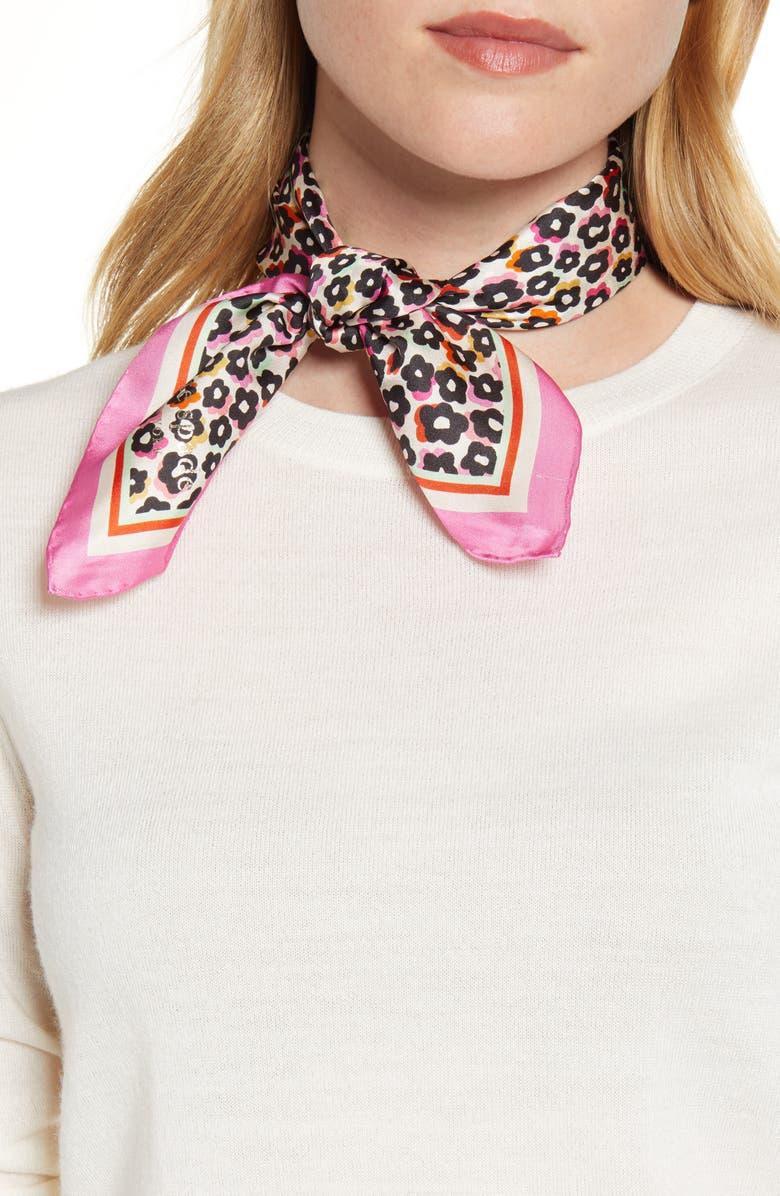 KATE SPADE NEW YORK flair flora silk bandana, Main, color, MULTI