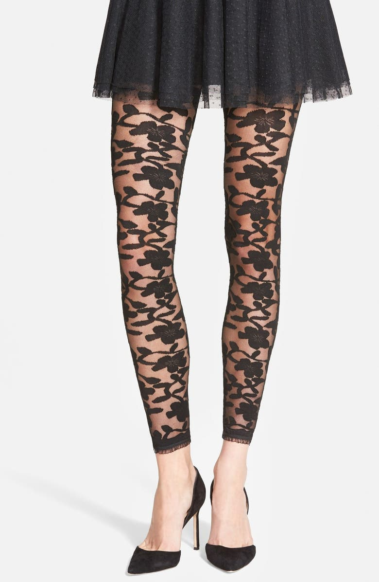 NORDSTROM Floral Pattern Sheer Footless Tights, Main, color, 001