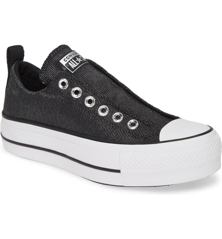 CONVERSE Chuck Taylor<sup>®</sup> All Star<sup>®</sup> Lift Slip-On Sneaker, Main, color, BLACK/ WHITE/ BLACK