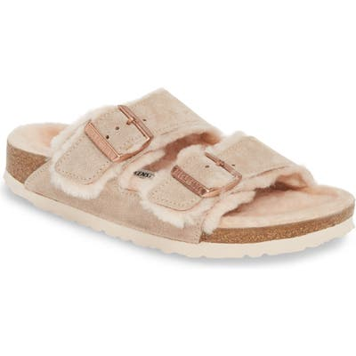 Birkenstock Arizona Genuine Shearling Slide Sandal, Beige