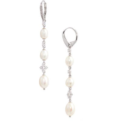 Nadri Tulle Pearl Linear Earrings