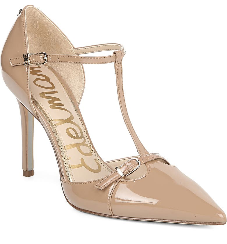 SAM EDELMAN Harper T-Strap Pump, Main, color, ROSA NUDE PATENT LEATHER